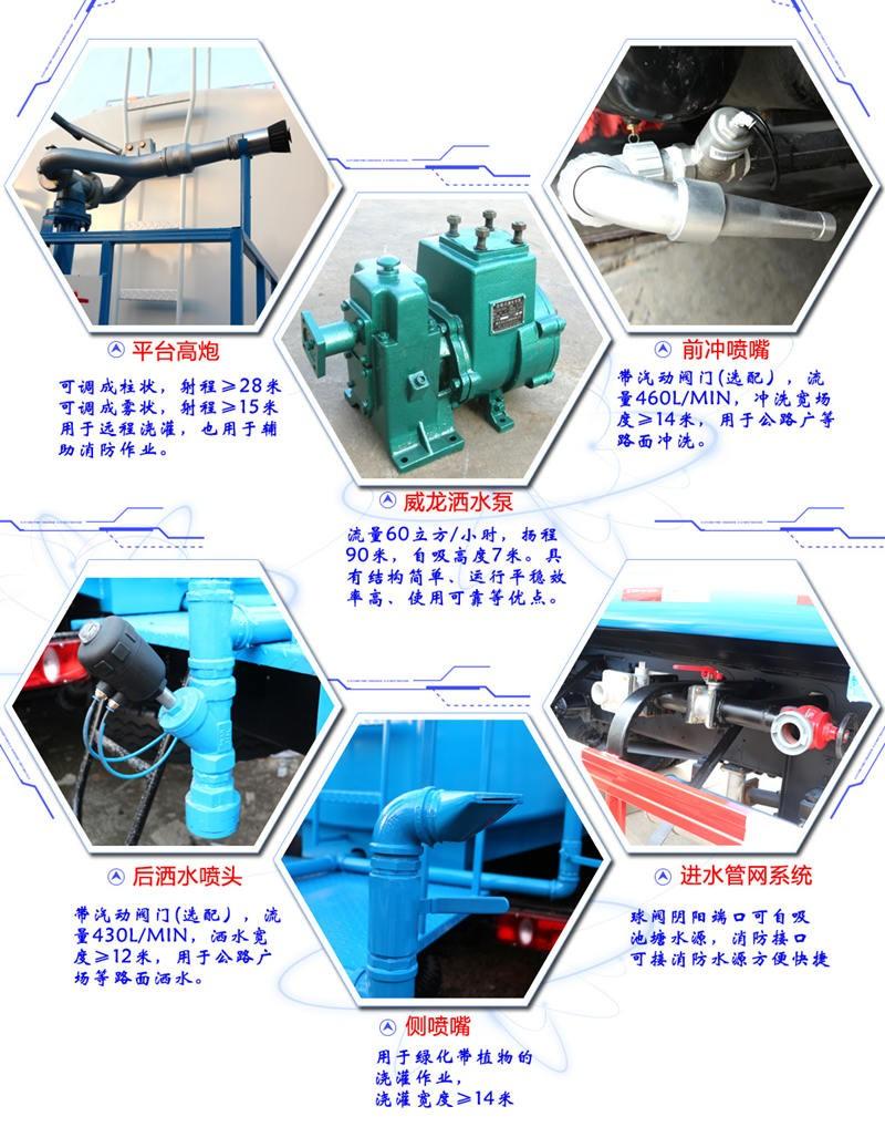 国六东风D9多利卡12方洒水车主要配件细节