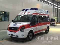 5台福特防疫用特种救护车发车 福特救护车提车成功